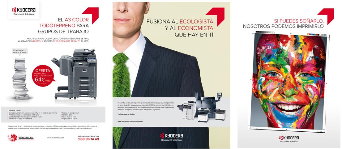 Diversas creatividades de inserciones en prensa de Kyocera