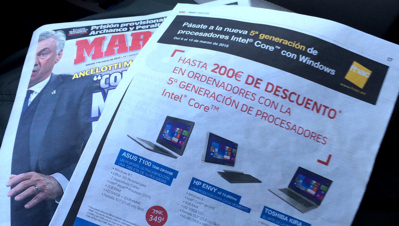 Pieza de Windows 2en1 en periódico Marca
