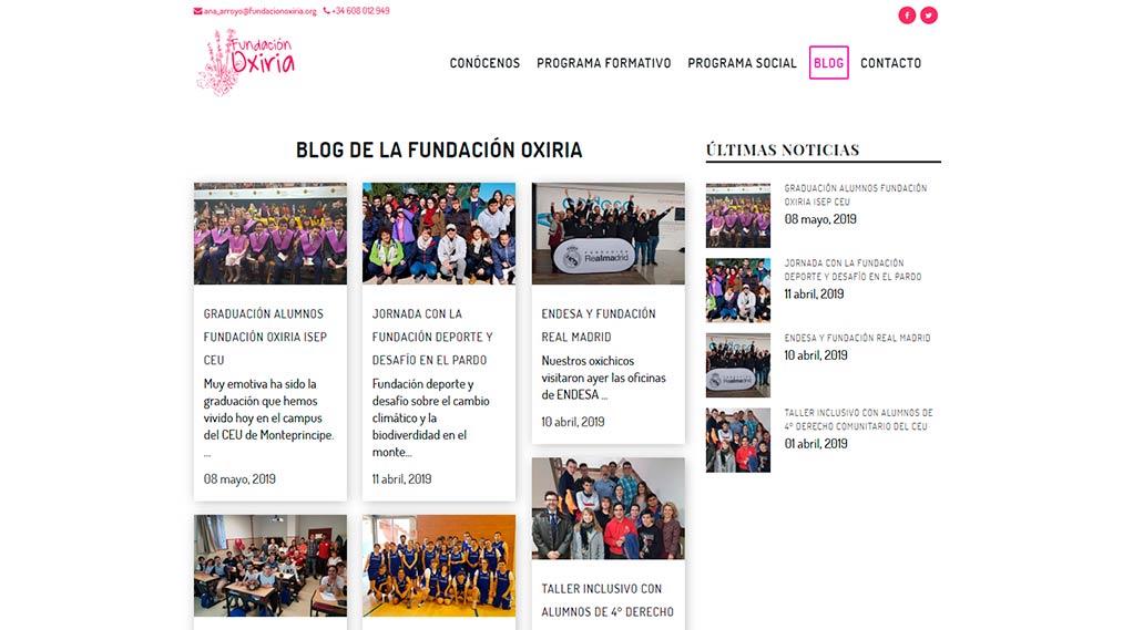 Rediseño web Fundación Oxiria